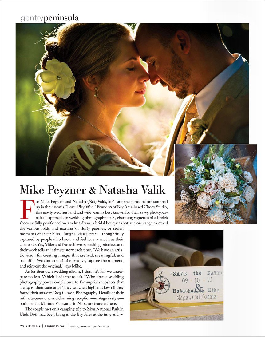 Mike and Natasha of Choco Studio are profiled in Gentry February 2011 issue