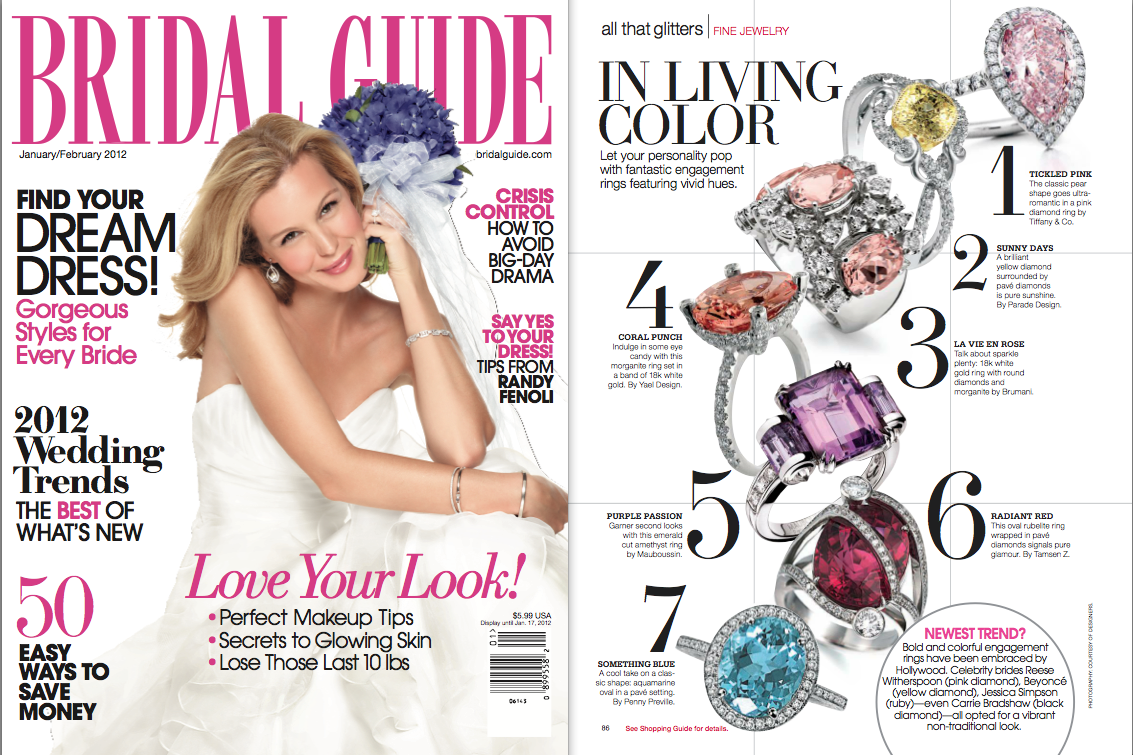 Bridal Guide features Yael Designs morganite ring in December 2011 issue
