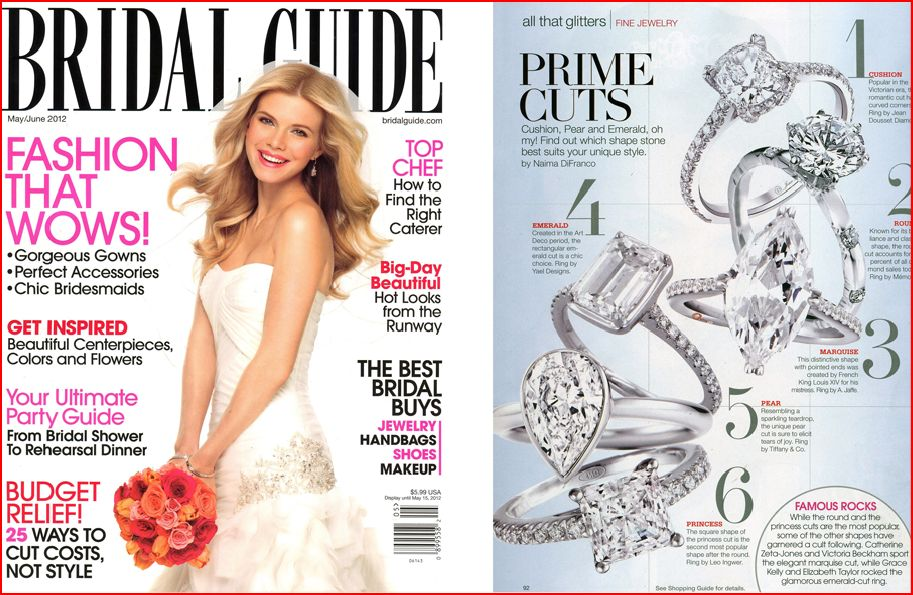 Bridal Guide April 2012 issue features Yael Designs engagement ring