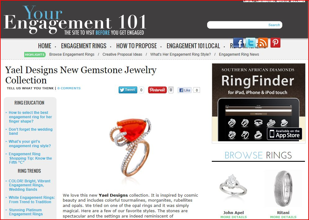 Engagement 101 features Lyra jewelry collection by Yael Designs.