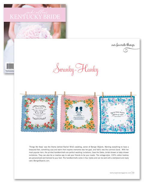 Kentucky Brides featured handkerchief invitations by Benign Objects