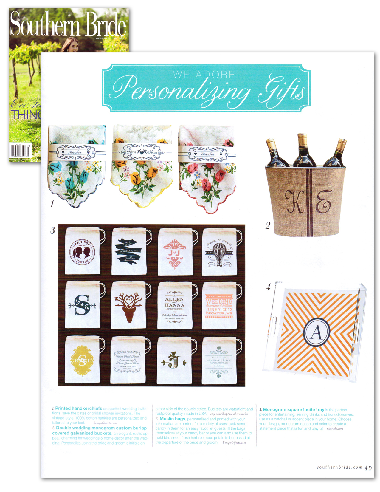 Southern Bride features favor bags by Benign Objects. Summer 2012