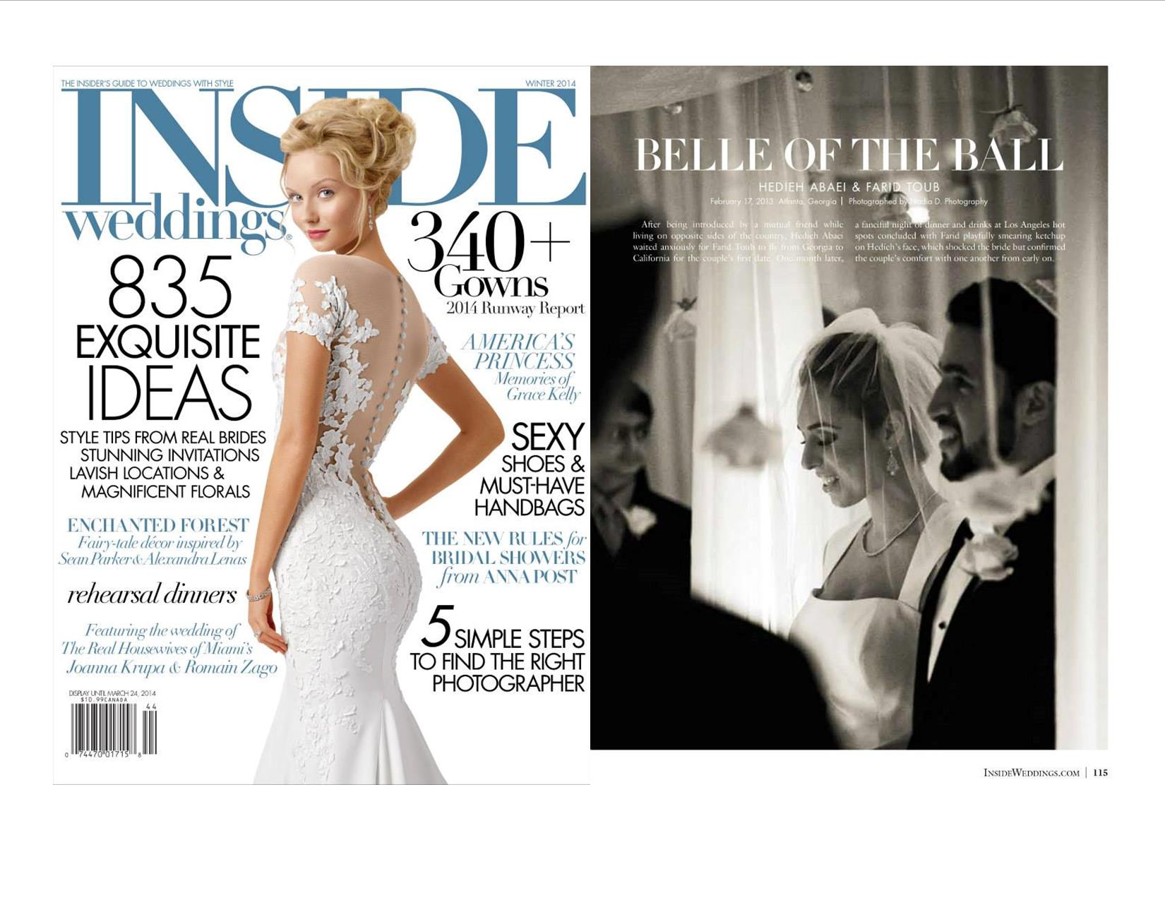 Inside Weddings features Nadia D Photography. December 2013