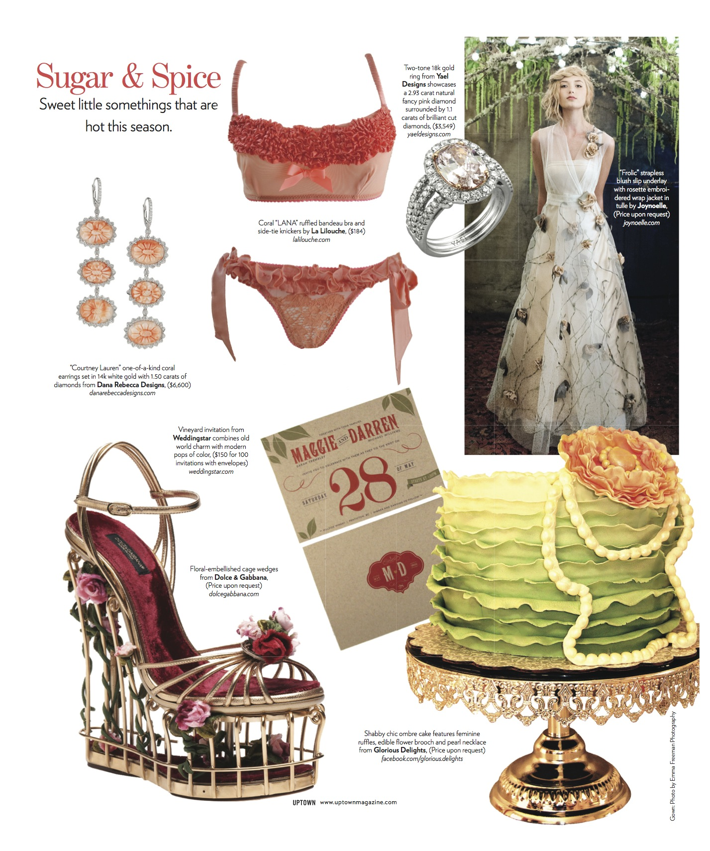 Uptown magazine features Weddingstar invitation and Yael Designs engagement ring. November 2013