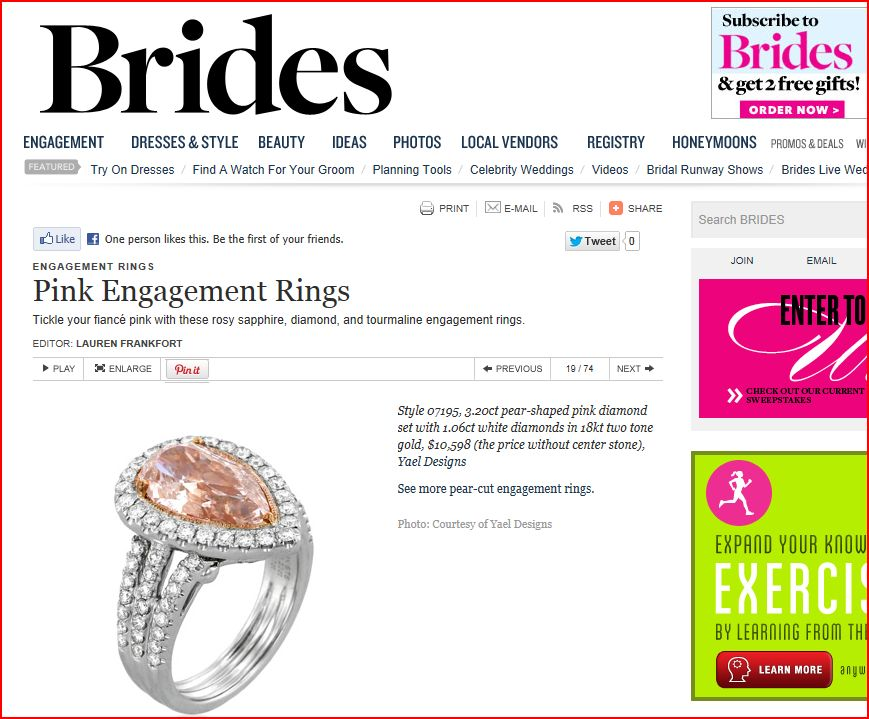 Brides.com publishes pink engagement rings by Yael Designs, February 2013