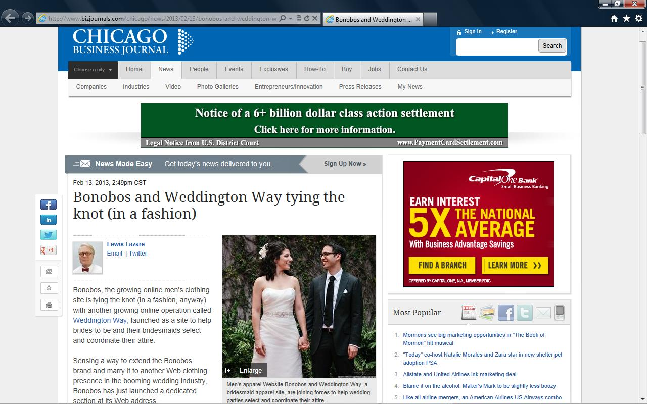 Chicago Business Journal publishes story on Weddington Way & Bonobos partnership, February 2013