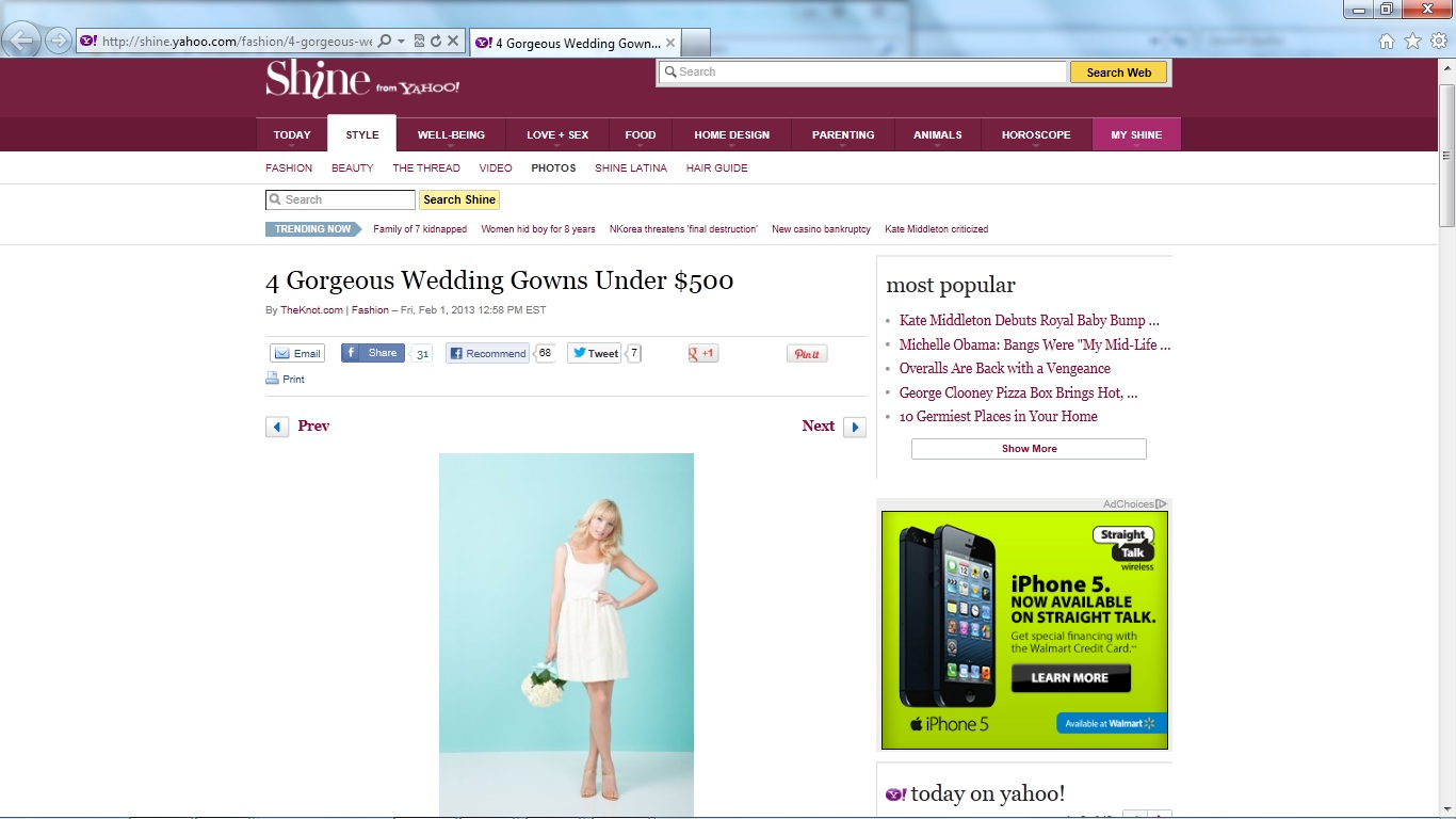 Yahoo features a dress by Kirribilla, February 2013