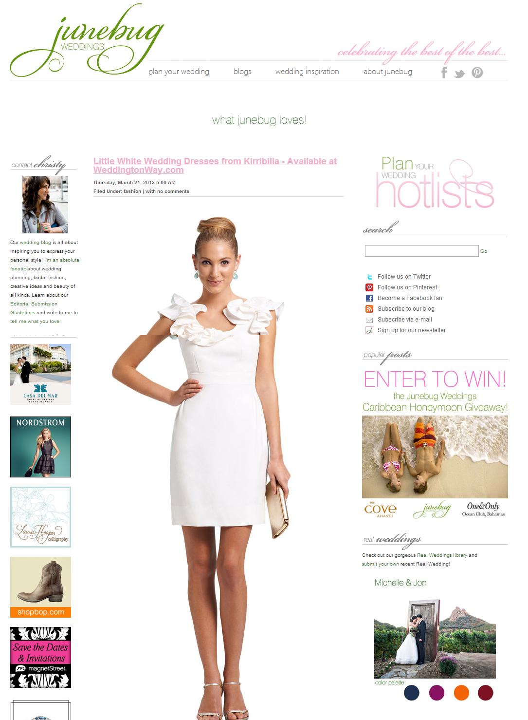 Junebug Weddings features Kirribilla's collection launch on Weddington Way. March 2013