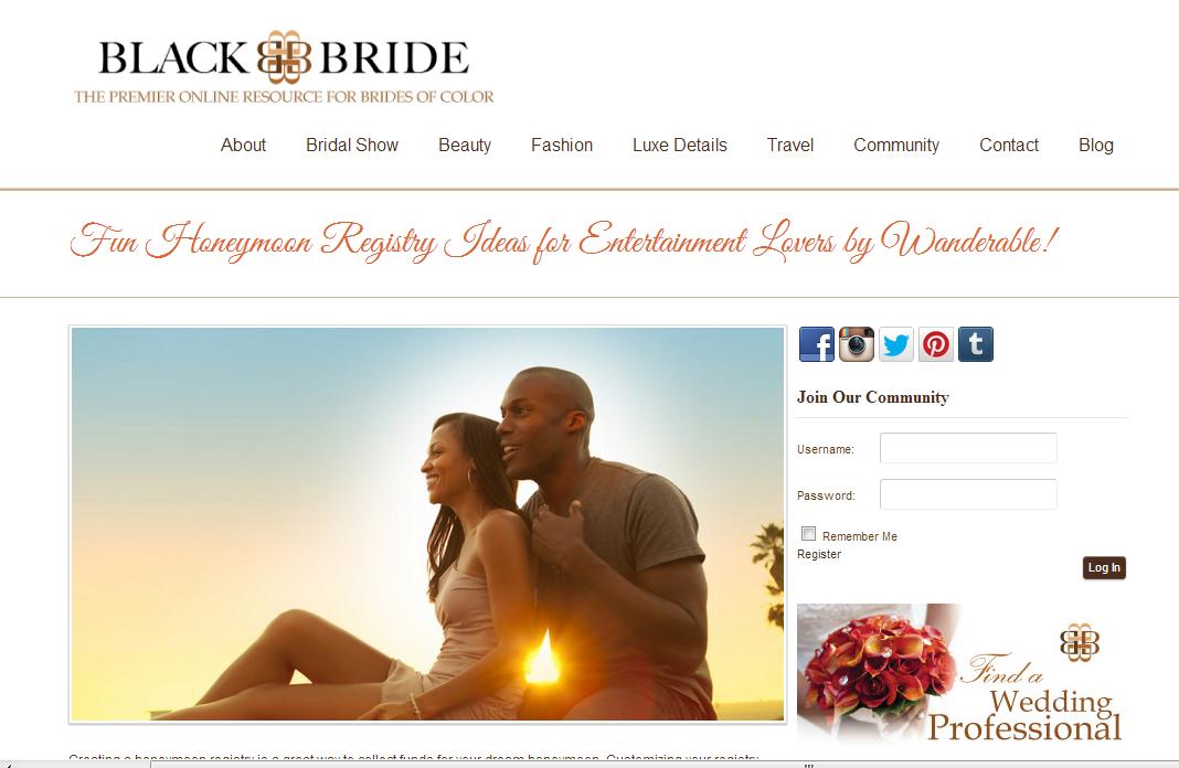 Black Bride features Wanderable honeymoon registry ideas. April 2013
