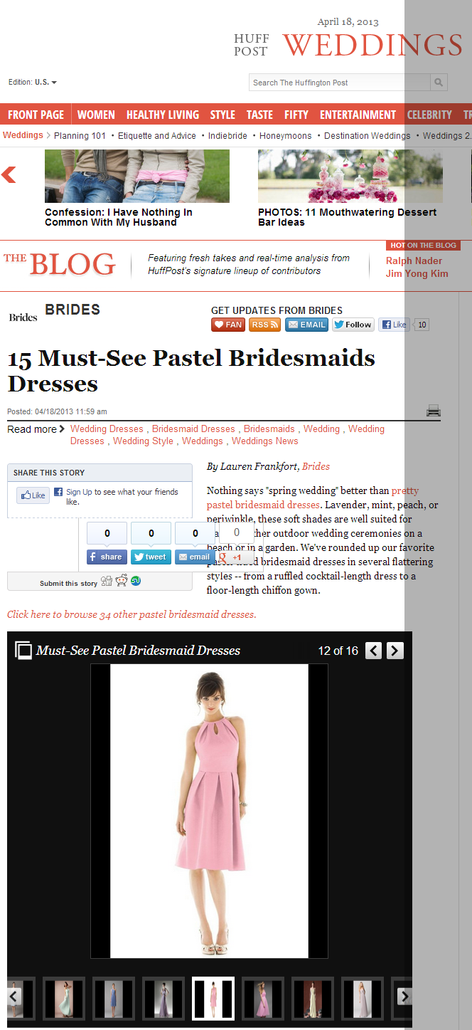 Huffington Post features pastel dresses by Weddington Way and Kirribilla. April 2013