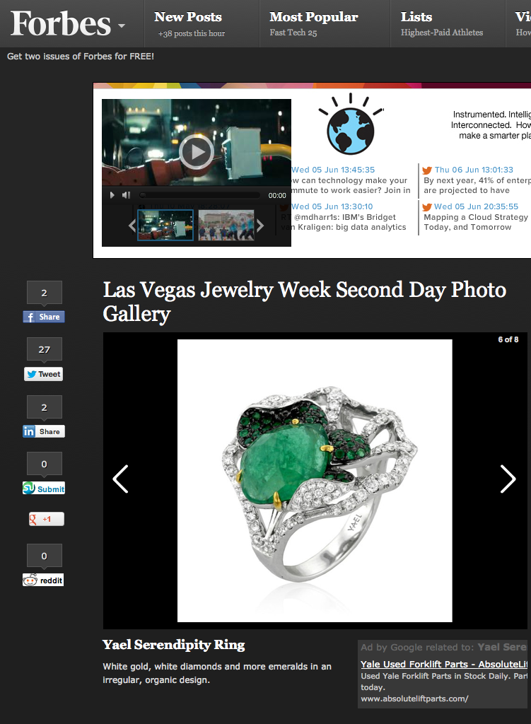 Yael Designs Serendipity Ring featured in Forbes June 2013