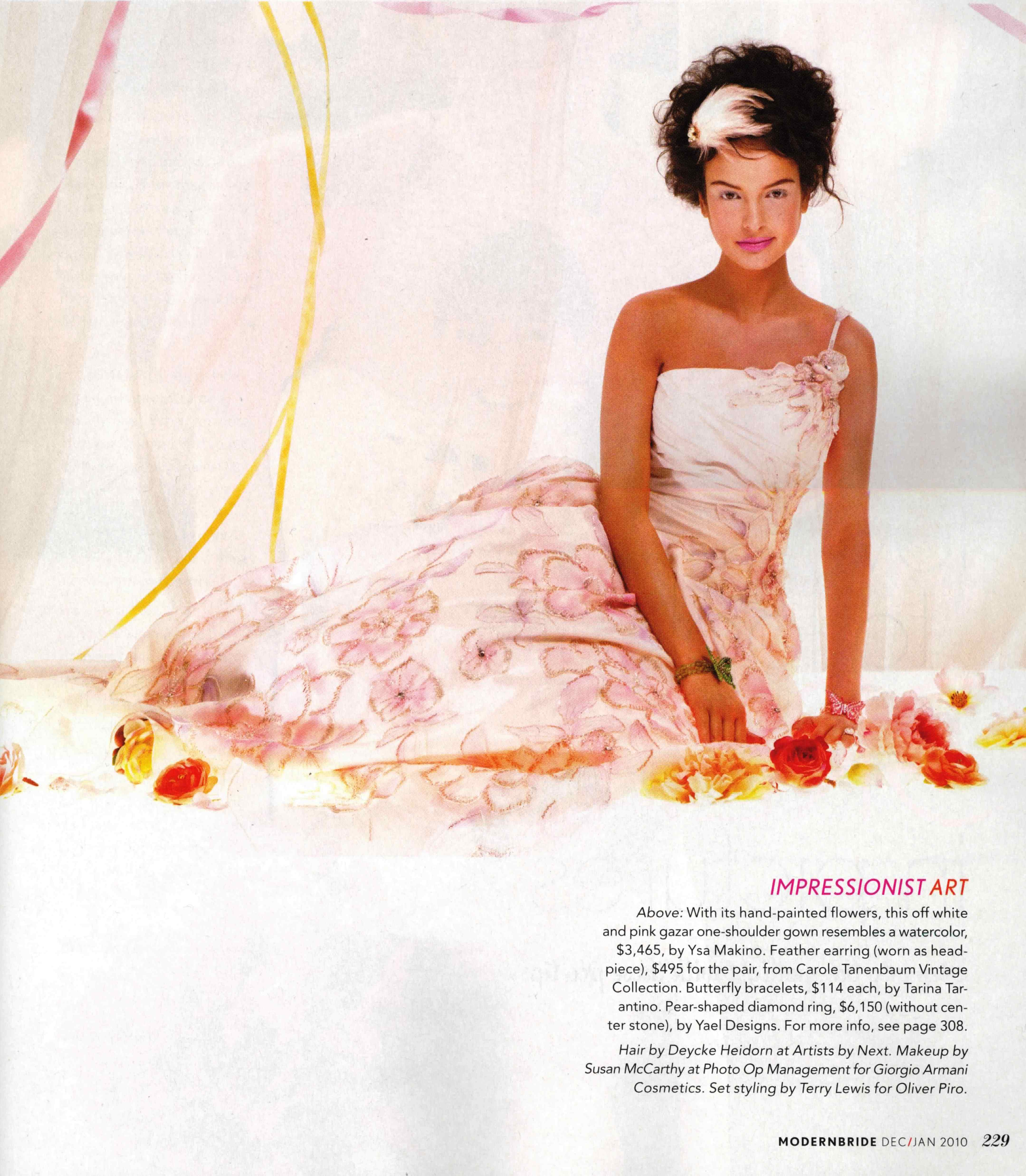 Engagement ring by Yael Designs featured on a model in Modern Bride Nov/Dec 2009 issue