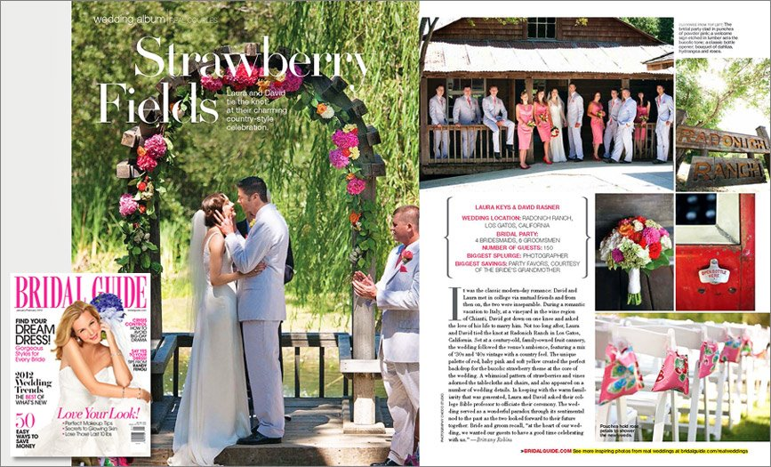 Bridal Guide features Radonich Ranch wedding photographed by Choco Studio