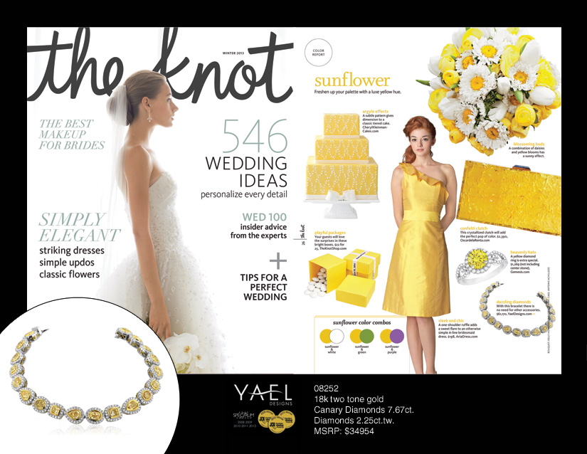 The Knot featured Luna Yellow Diamond Bracelet by Yael Designs. January 2014