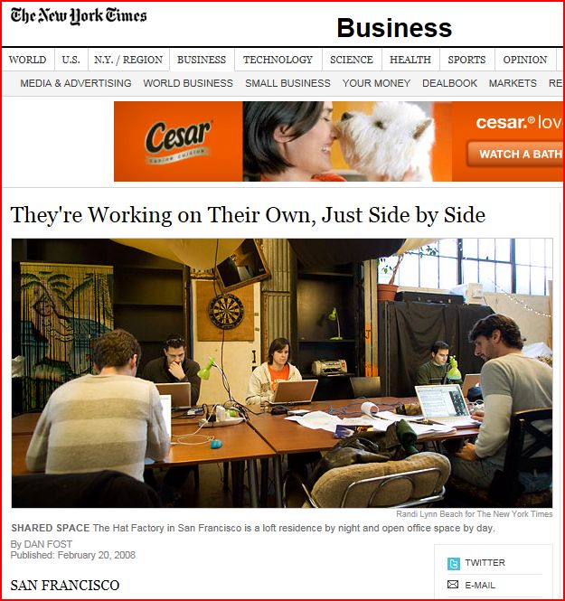 New York Times writes about coworking and Sandbox Suites