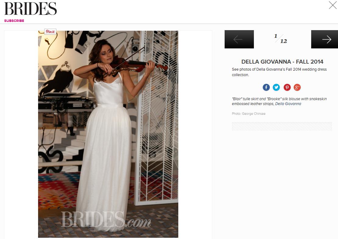 Brides featured Della Giovanna's Fall 2014 Collection. October 2013