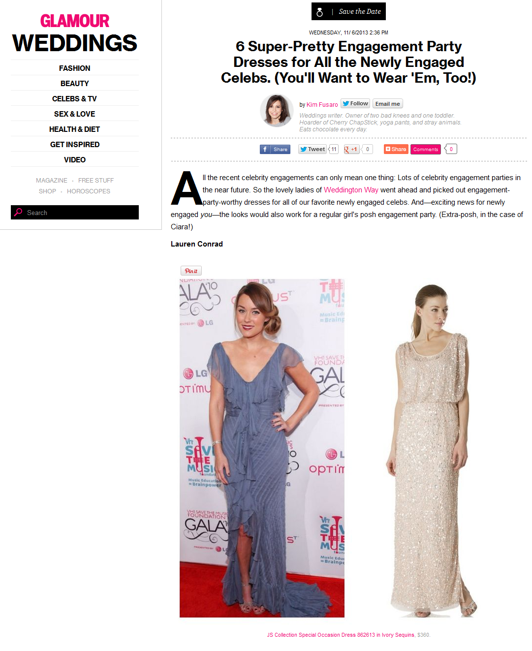 Glamour featured engagement dresses from Weddington Way. November 2013