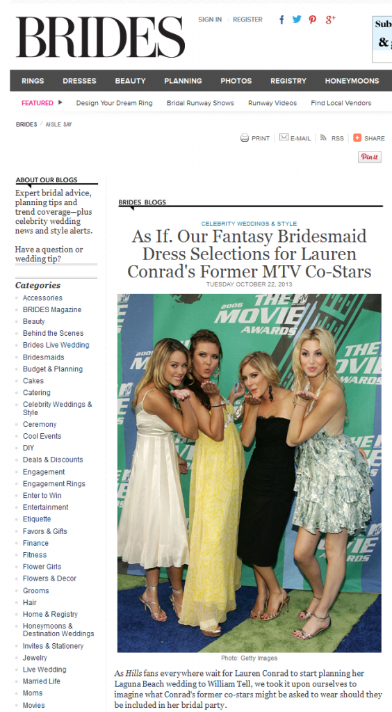 Brides featured bridesmaid dresses from Weddington Way including a Kirribilla dress. October 2013