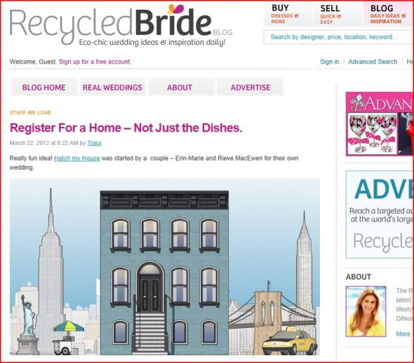 Recycled Bride features Hatch My House