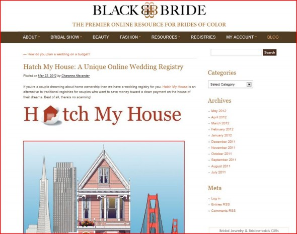 BlackBride features Hatch My House