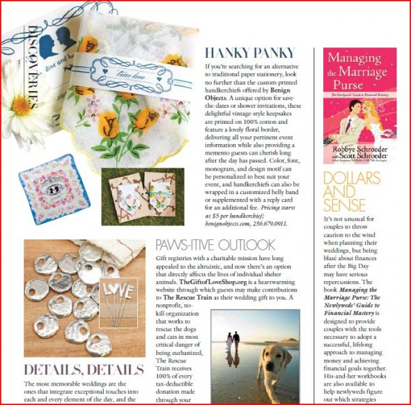 Inside Weddings magazine features Benign Objects invitations