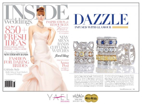Inside Weddings features wedding band by Yael Designs
