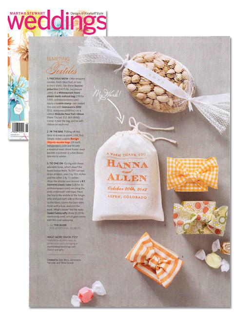 Martha Stewart Weddings features Benign Objects muslin bags