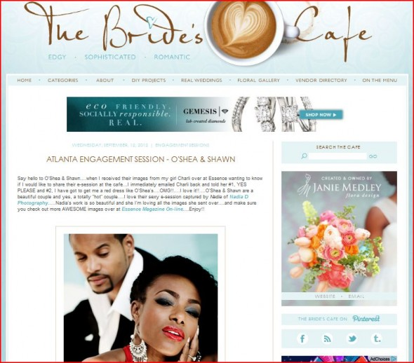 The Bride's Cafe features engagment by Nadia D Photography