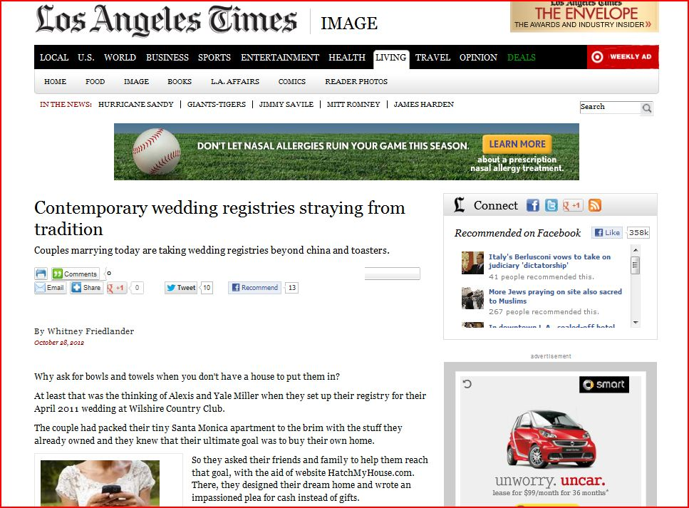 Los Angeles Times runs article on Hatch My House wedding registry