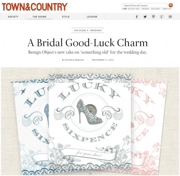 Town & Country Weddings features Benign Objects