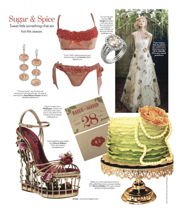 An adorable invite by Weddingstar, accompanied by a stunning ring from Yael Designs are featured on a page of Uptown Magazine