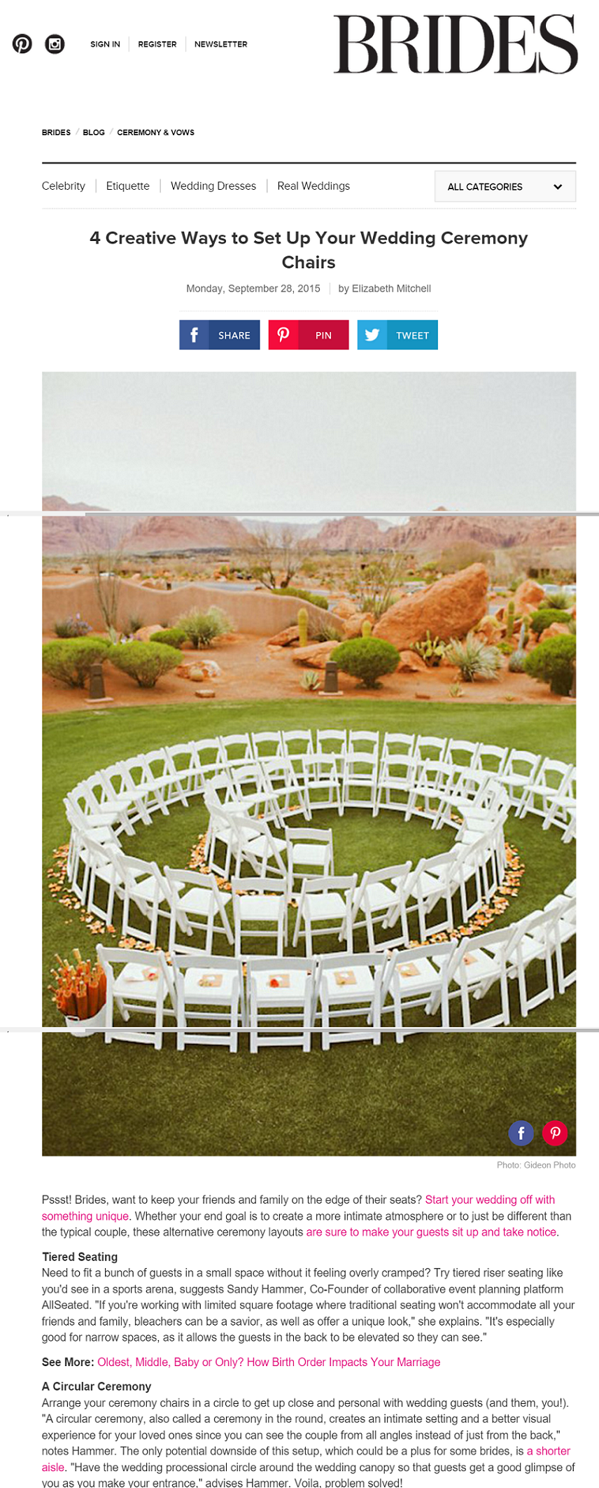 Brides gets ceremony seating tips from AllSeated