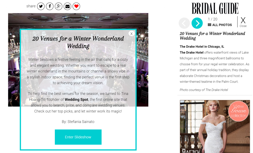 Bridal Guide features winter wedding tips from Wedding Spot