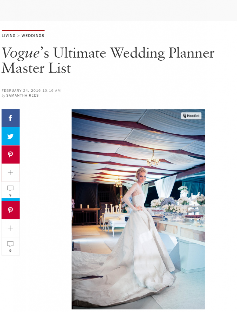 Vogue top wedding planners