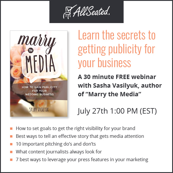 Wedding PR webinar with Sasha Vasilyuk for AllSeated