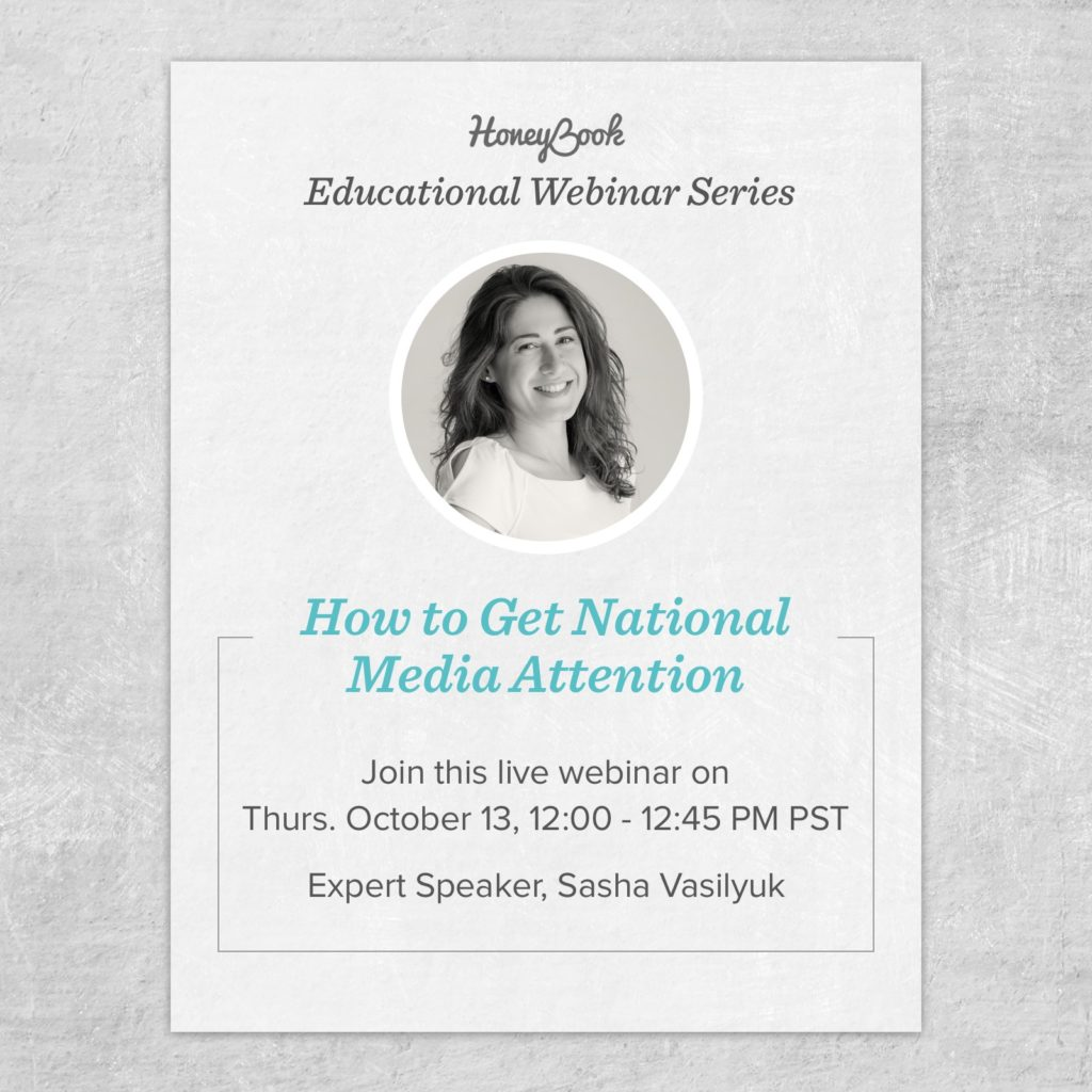 HoneyBook webinar on wedding PR with Sasha Vasilyuk